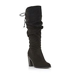 Head Over Heels by Dune - Black 'Tammarra' mid block heel knee high boots