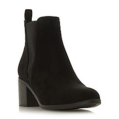 Head Over Heels by Dune - Black 'Pallow' mid block heel ankle boots