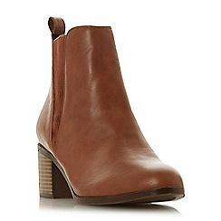 Head Over Heels by Dune - Tan 'Pallow' mid block heel ankle boots