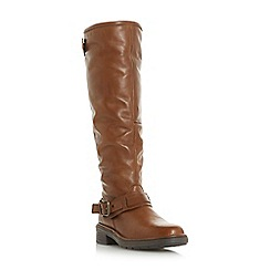 Dune - Tan leather 'Torlie' knee high boots