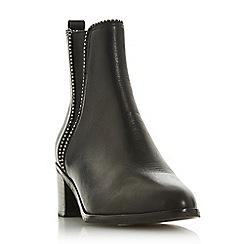 Dune - Black leather 'Portobello' block heel ankle boots