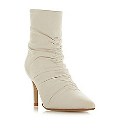 Dune - White leather 'Oasis' high stiletto heel ankle boots