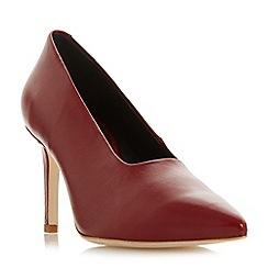 Dune Black - Maroon leather 'Arllows' mid stiletto heel court shoes
