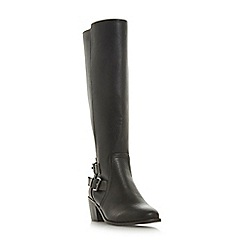 Head Over Heels by Dune - Black 'Talia' mid block heel knee high boots