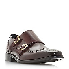 Dune - Maroon 'Patch' double buckle monk shoes
