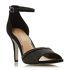 Head Over Heels by Dune - Black 'Mabel' mid stiletto heel ankle strap sandals