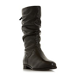 Dune - Black leather 'Wf rosalindd' block heel wide fit calf boots