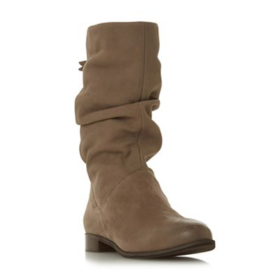 Dune - Taupe leather 'Wf rosalindd' calf block heel wide fit calf rosalindd' boots 0105b1