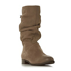 Dune - Taupe leather 'Wf rosalindd' block heel wide fit calf boots