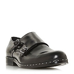 Dune - Black 'Padrons' stud trim double buckle monk shoes