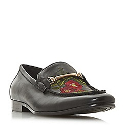 Dune - Black 'Performer' rose embroidered loafers