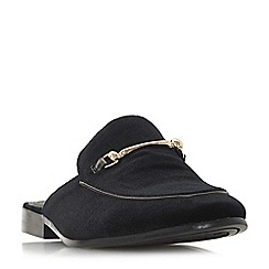 Dune - Black 'Poseidon' metal saddle trim backless loafers