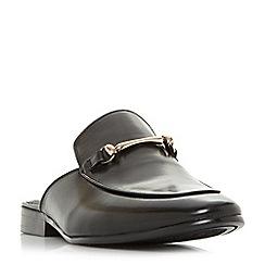 Dune - Black 'Poseidon' metal saddle trim backless loafers shoes