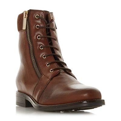 90e9623f156a Dune Dark tan leather 'Quad' ankle boots | Debenhams