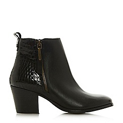 Dune - Black leather 'Peerson' mid block heel ankle boots