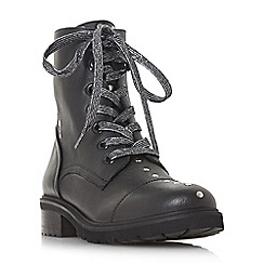 Steve Madden - Black leather 'Irofi' block heel biker boots