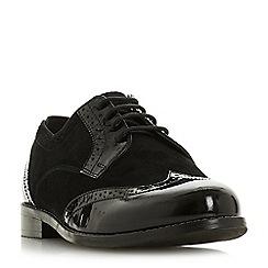 Dune - Black leather 'Wf foxxy' block heel wide fit brogues