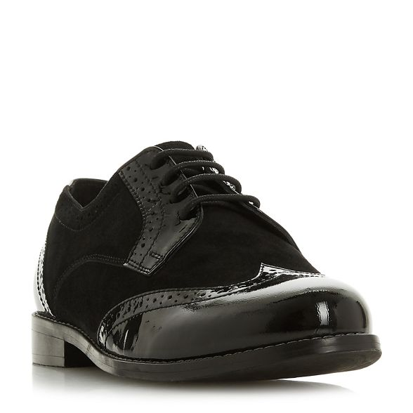 Black brogues block heel fit wide Dune leather 'Wf foxxy' pn1xdCdq