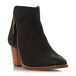 Dune - Black leather 'Wf ponntoon' mid block heel wide fit ankle boots