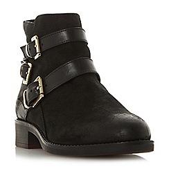 Dune - Black leather 'Wf phoenixx' block heel wide fit ankle boots