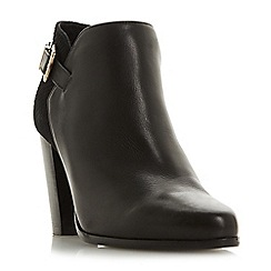 Dune - Black leather 'Wf oleria' high block heel wide fit ankle boots