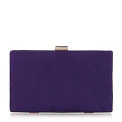 Dune Purple Brocco Gold Trim Clutch Bag