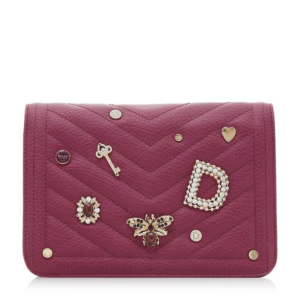 red quilted 'Drinket' Dune Dark embellished purse waP5WS