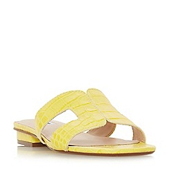 Dune - Yellow leather 'Loupe' block heel mule slippers