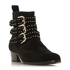 Dune - Black suede 'Pagent' block heel ankle boots