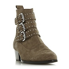 Dune - Taupe suede 'Pagent' block heel ankle boots