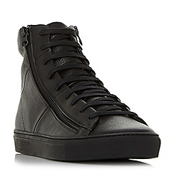 Bertie - Black 'Cable' zip detail high top trainers