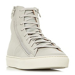 Bertie - White 'Cable' zip detail high top trainers