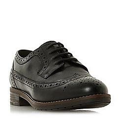 Dune - Black leather 'Wf felixe' block heel wide fit brogues