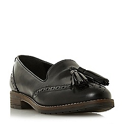 3db699d3f91 Dune - Black leather  Wf gillian  block heel wide fit loafers