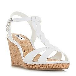 Dune - White leather 'koala' high wedge heel ankle strap sandals