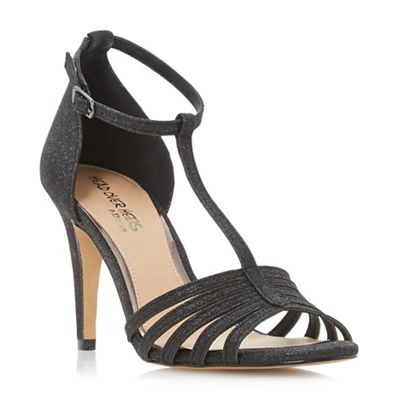 Head Over Heels by Dune - Black glitter 'Michele' mid stiletto heel t-bar sandals