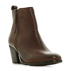 Dune - Dark tan leather 'Wf peerson' mid block heel wide fit ankle boots