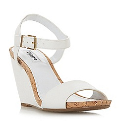 Dune - White 'Kezsha' high wedge heel ankle strap sandals