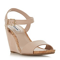 Dune - Light pink 'Kezsha' high wedge heel ankle strap sandals
