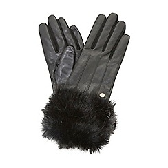 Dune - Black 'Ionna' faux fur trim gloves