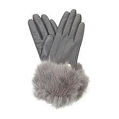 Dune - Grey 'Ionna' faux fur trim gloves
