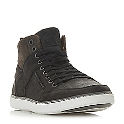 Dune - Black 'Sven' leather hi-top trainers