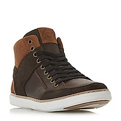 Dune - Brown 'Sven' leather hi-top trainers