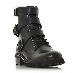 Steve Madden - Black leather 'Crost sm' block heel biker boots