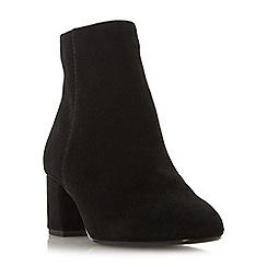 Dune - Black suede 'Wf olyvea' mid block heel wide fit ankle boots