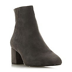 Dune - Grey suede 'Wf olyvea' mid block heel wide fit ankle boots