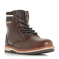 Dune - Brown 'Covent' striped collar boots