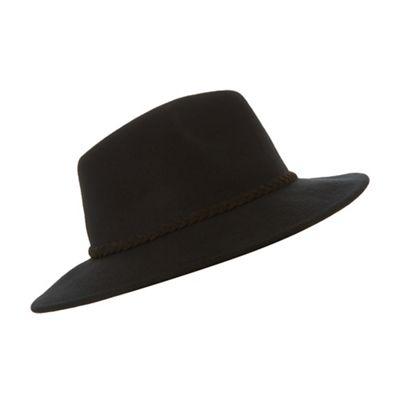 Dune   Black 'fellie' Rope Plait Fedora Hat by Dune