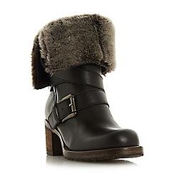 Dune - Black leather 'Roko' mid block heel calf boots
