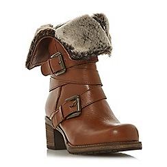 Dune - Tan leather 'Roko' mid block heel calf boots